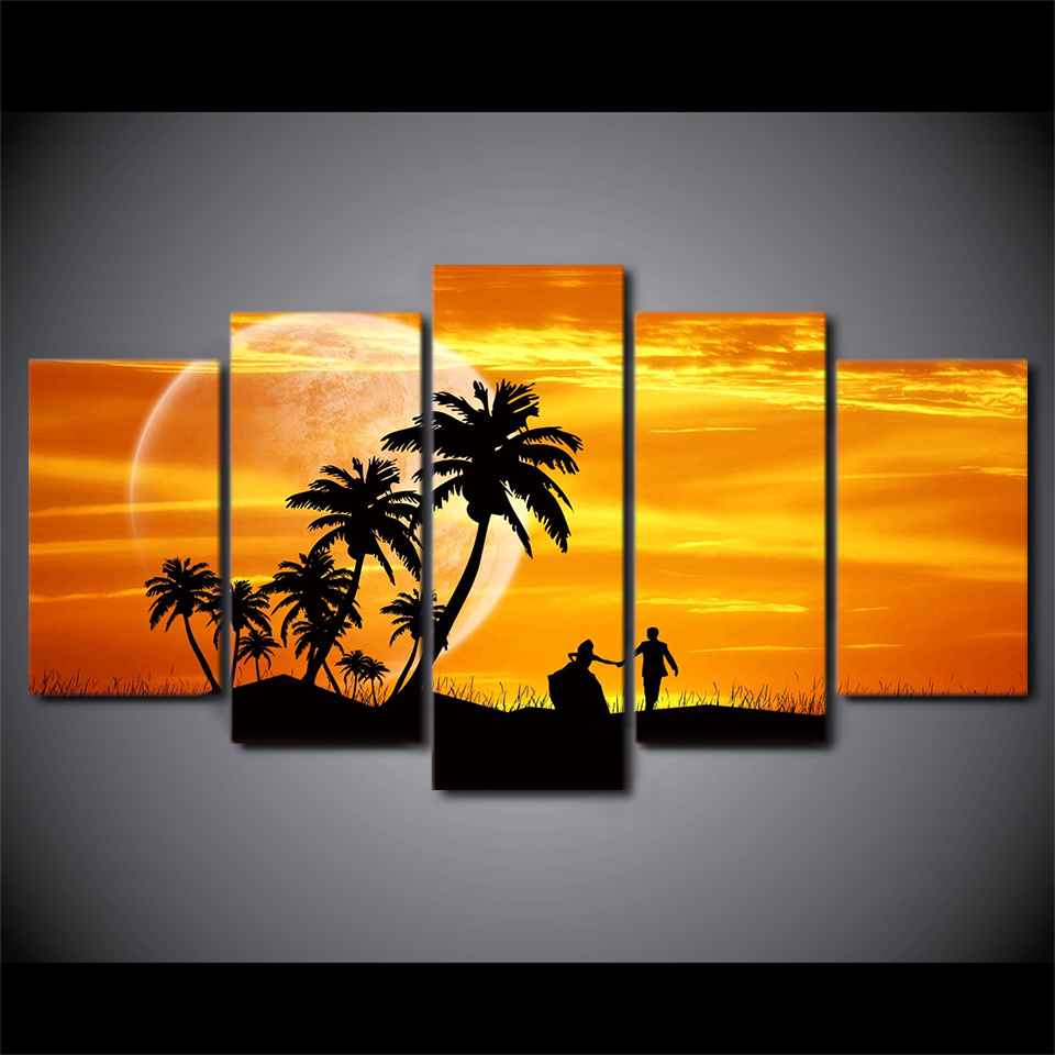 5 Piece Framed Printed Sunset Couple Coconut Tree Painting On Canvas Decor Art Print Picture Canvas Poster Printing Hogar Modern