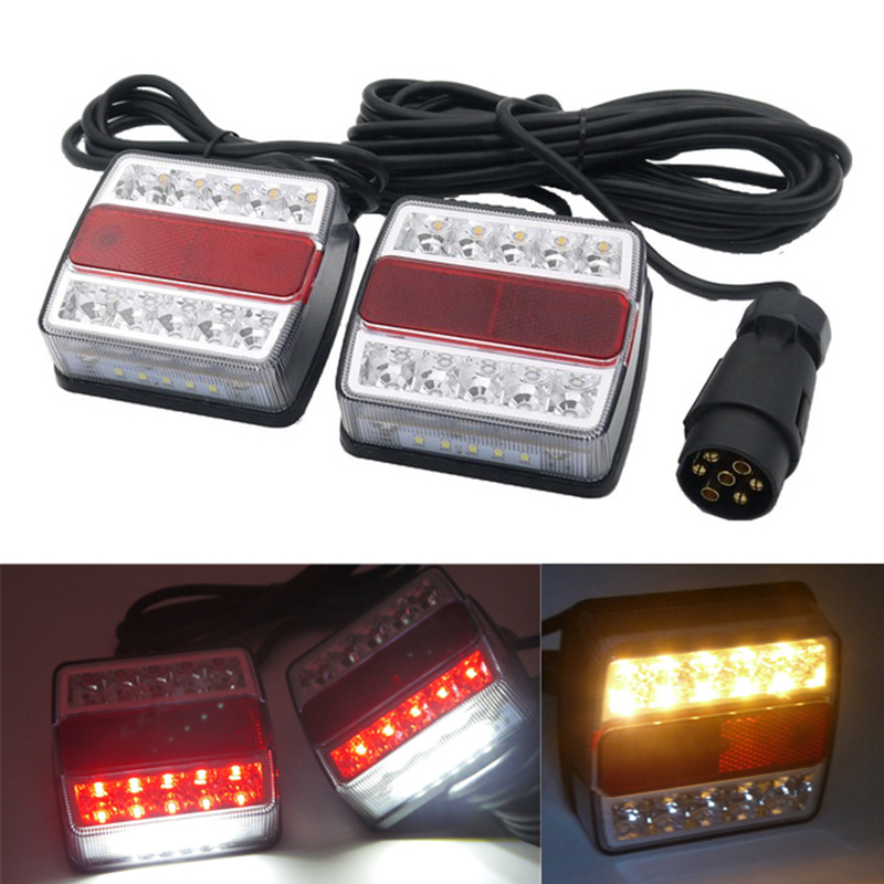 1 Pair 10 LED Universal Trailer Truck Tail Light with License Plate Lamp 12V Red Yellow