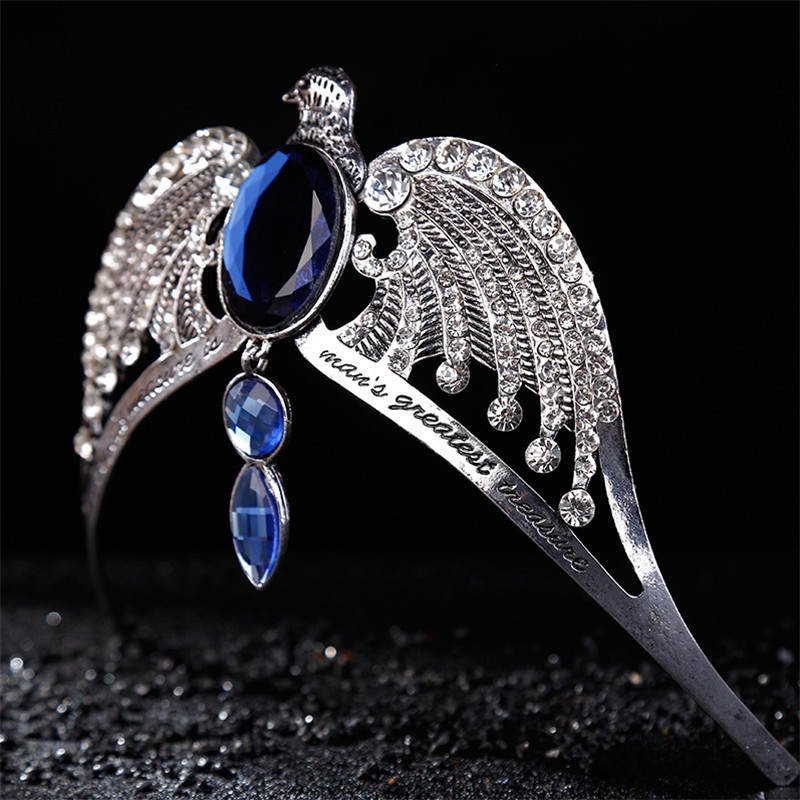 Fashion Vintage Silver Ravenclaw diadem Blue Crystal Ravenclaw College Lost Crown Prom Hair Jewelry Jarry Potter Horcrux