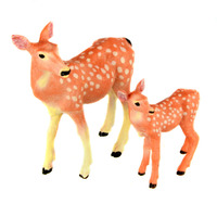 Starz Animals Mon And Baby Sika Dear Static Model Plastic Action Figures Educational Toys Gift For