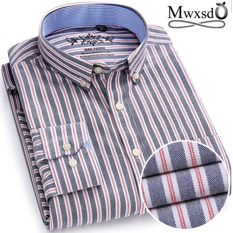 Mwxsd High Quality Casual Mens Oxford Cotton Shirt Men Striped Plaid Wedding Part Shirts Male Slim Fit Non Iron Easy Care Shirt
