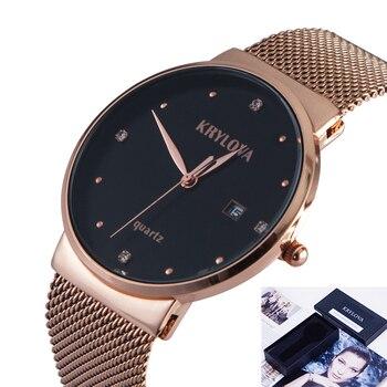 19288d56253a KRYLOVA moda mujer relojes superior de la marca de lujo de cuarzo reloj de  los hombres Slim