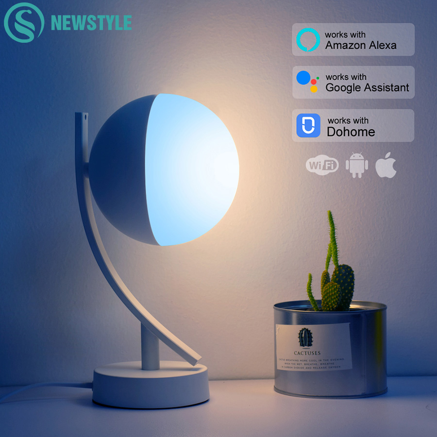 Rgb led 데스크 램프 7 w 스마트 음성 led 제어 wifi app 원격 dimmable 침실 테이블 야간 조명 alexa google 홈으로 작동