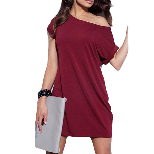 ec0fae3a1c46 Summer Fashion Short Sleeve Dress One Shoulder Turn-Up Cuff Loose Casual Mini  Dress Office Lady Elegant Plain Vestidos