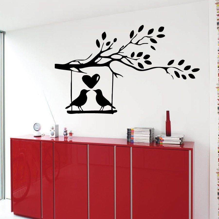 Wall Decals Birds In Love On A Tree Kids Vinyl Sticker Murals Wall Decor