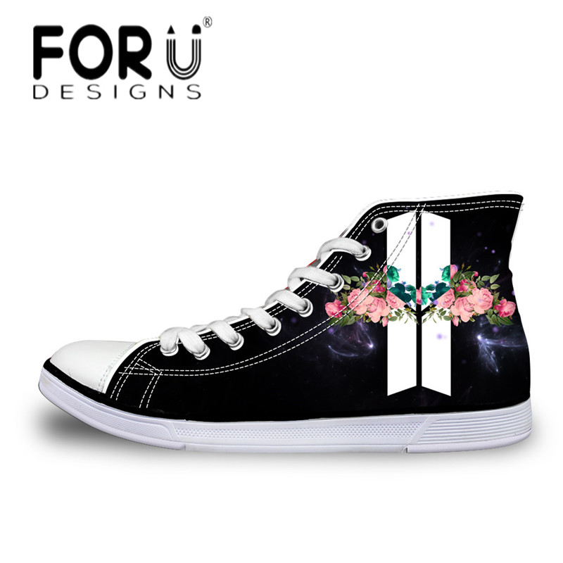 FORUDESIGNS Spring High Top Women Vulcanized Shoes Fashion BTS Print Ladies Casual Canvas Shoes Female Classic Lace Up Flat Shoe 2018 spring canvas shoes flat casual shoes black lace up shoes lovely cat printed women high top canvas female vulcanize shoes