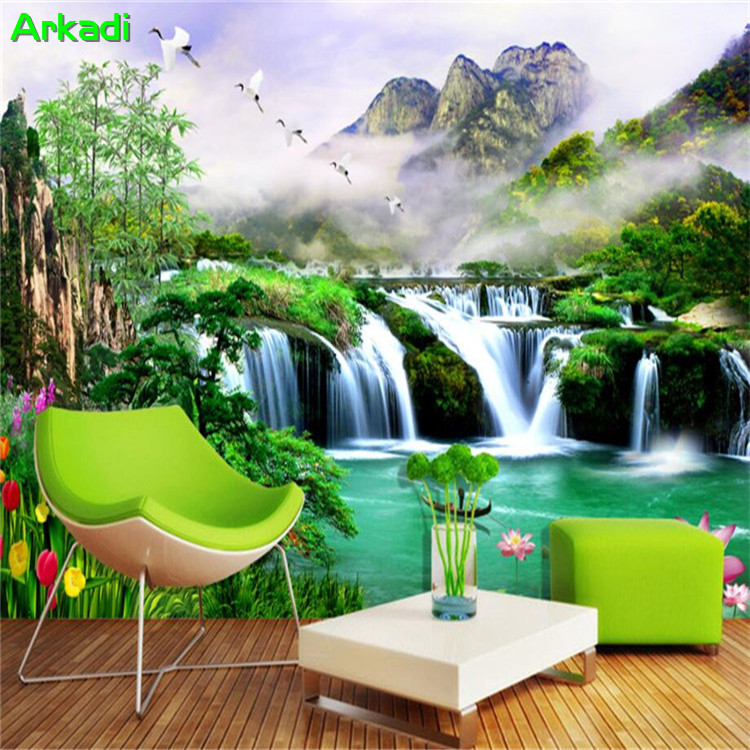 3d wallpaper landscape scenery waterfall pine lotus wallpaper background living room bedroom TV background wall decorative paint Обои