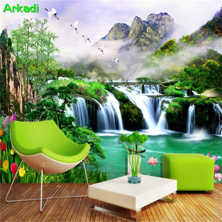 3d Wallpaper Landschaft Landschaft Wasserfall Kiefer Lotus Tapete Hintergrund Wohnzimmer Schlafzimmer Tv Hintergrund Wand Dekorative Farbe