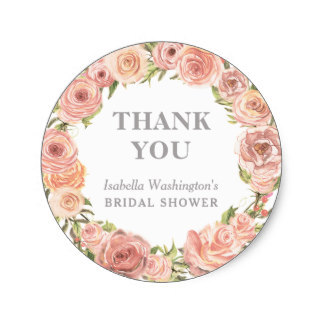 38cm bridal shower thank you romantic floral wreath classic round sticker
