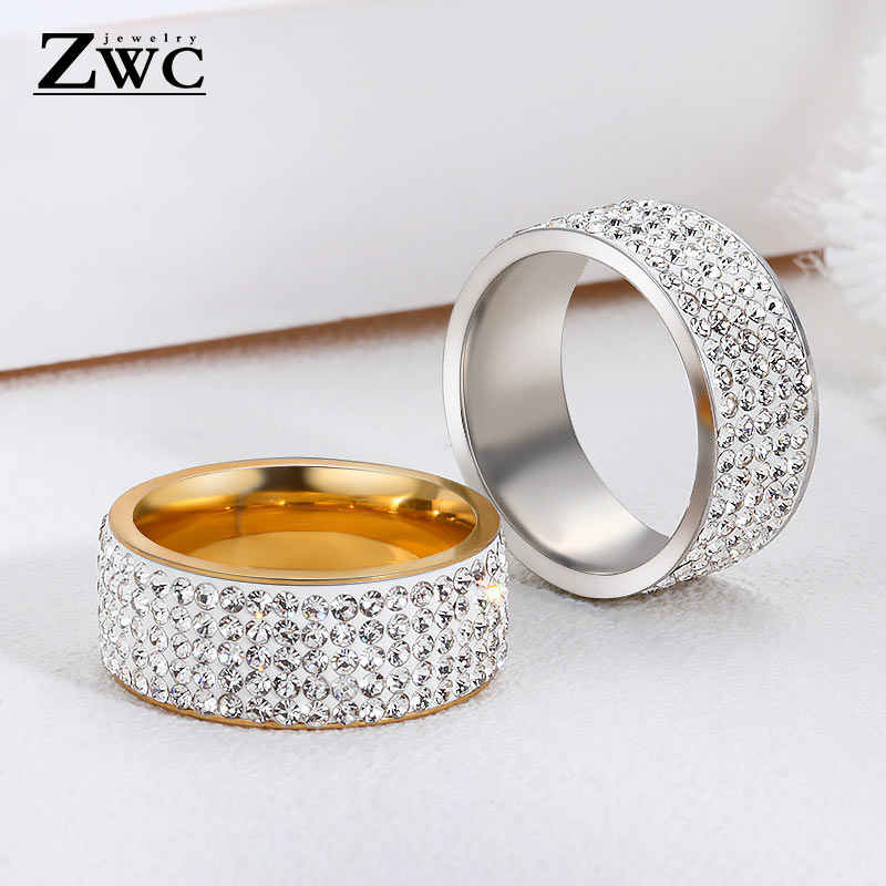 ZWC אופנה יוקרה אופנתי ריינסטון טבעות לנשים גברים 8mm 5 שורה קווים ברור קריסטל חתונה נירוסטה טבעת תכשיטים