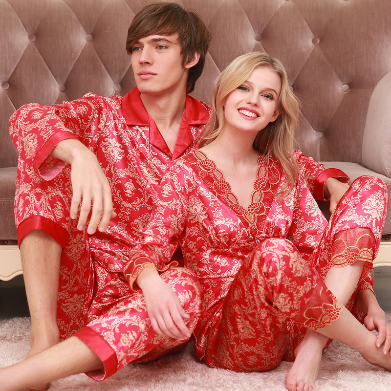 Married couples spring autumn men women pajamas long sleeved silk pajamas wedding lovers clothing Home silk loungewear
