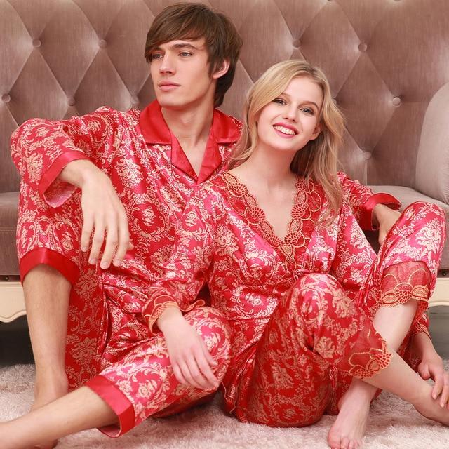Married couples spring autumn men women pajamas long sleeved silk pajamas wedding lovers clothing Home silk loungewear