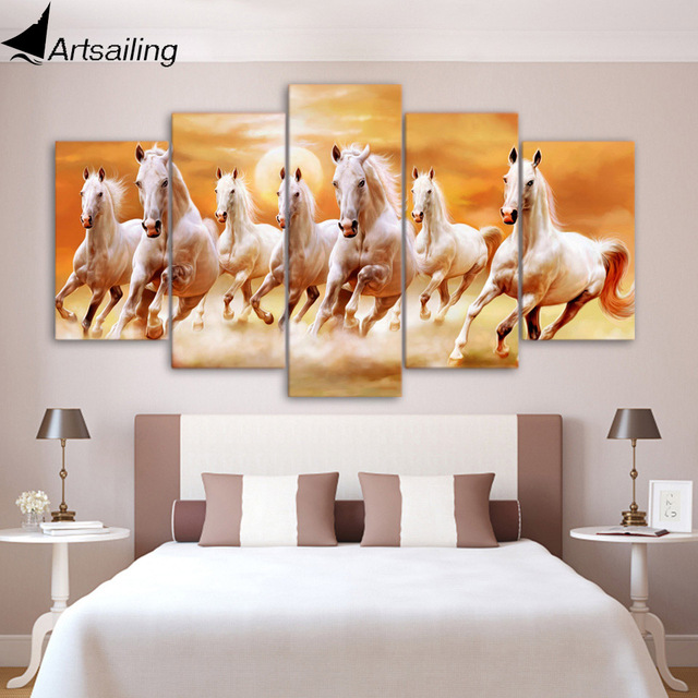 5 piece canvas art group white horses running posters and prints ...