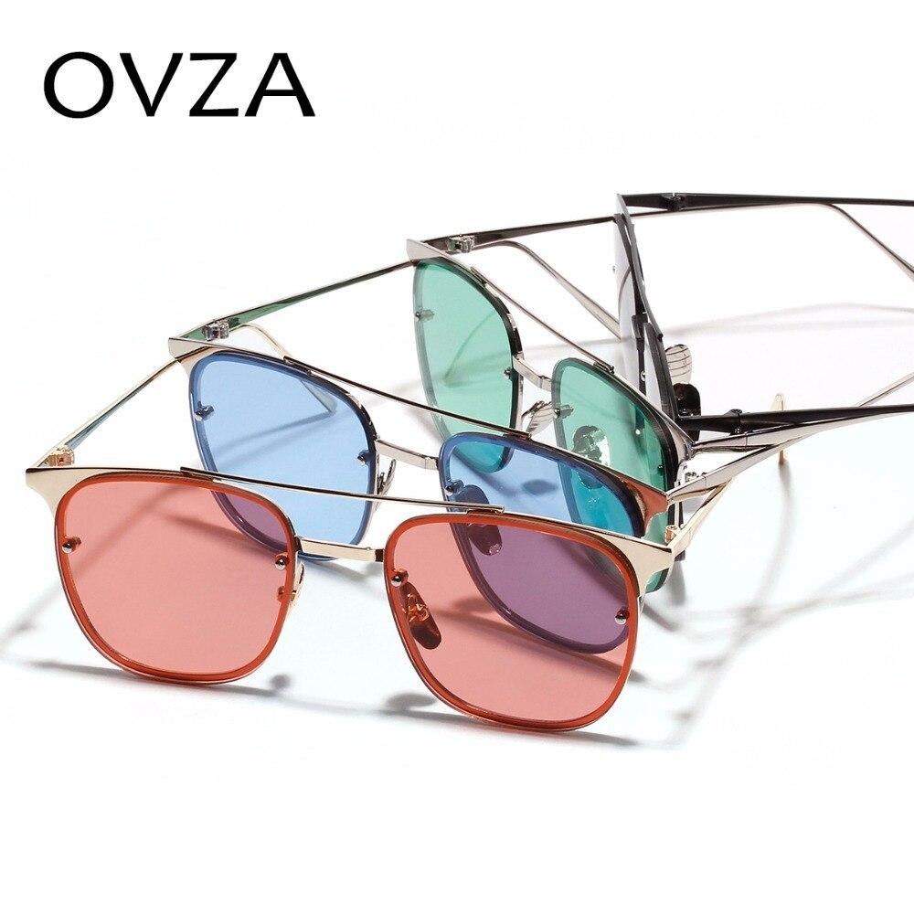 1f903638cc1b46 OVZA Rectangle Hommes lunettes de Soleil En Métal lunettes de Soleil Dames  De Mode Rouge lunettes de Soleil Rétro Classique Haute Qualité oculos  feminino ...