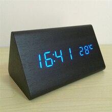 Trigon sound control LED de Alarma Relojes Termómetro relojes De Madera, pantalla LED Calendario Reloj con segundos AKUKMQB relojes digitales