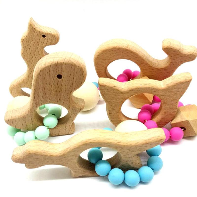 Silicone Wood Beads Teether Chew Beech Baby Teething Beech Beads Gift Bed Toys Child Baby Rattles Montessori Bracelets XV3