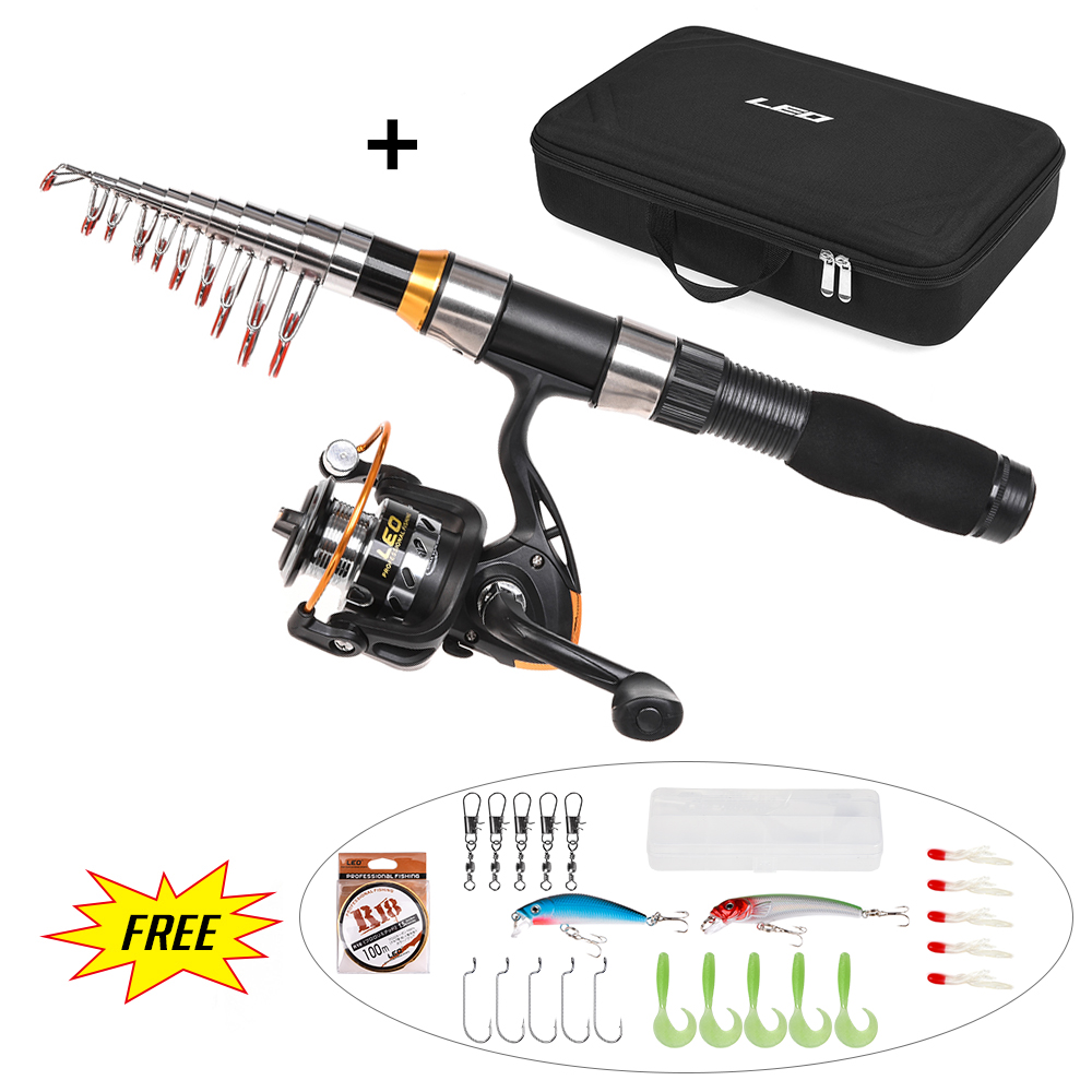 Fishing Rod Combo and Reel Full Kit + 50cm Portable PVC Fishing Bags Spinning Fishing Reel Gear Pole Set + Fishing Lures Hooks(China)