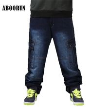 ABOORUN Plus Größe Mens Cargo Denim Hosen Multi Taschen Taktische Lose Jeans  Hip Hop Herren Skateboard 2e4dec0184