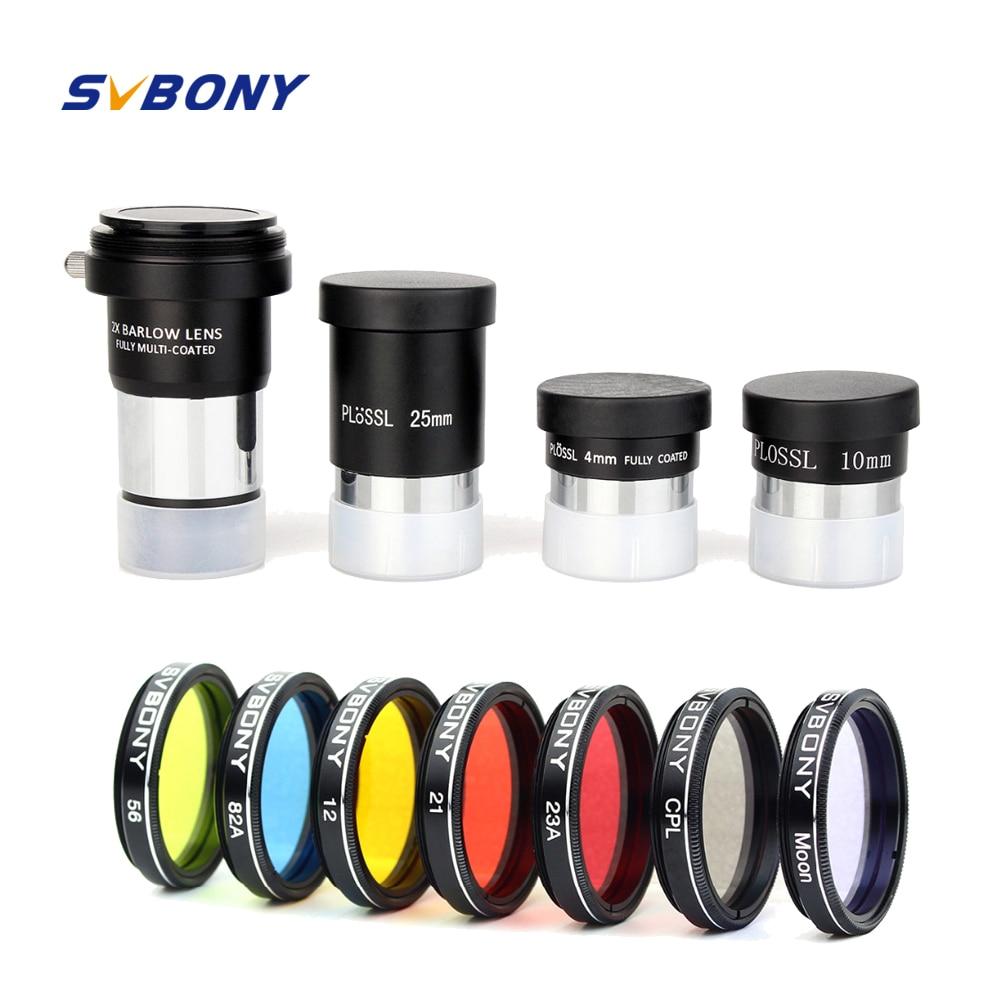 SVBONY 1.25 Plossl Eyepiece Set +Barlow Lens +Moon Filter +CPL Filter +Five Color Filter Kit for Astronomy Monocular Telescope