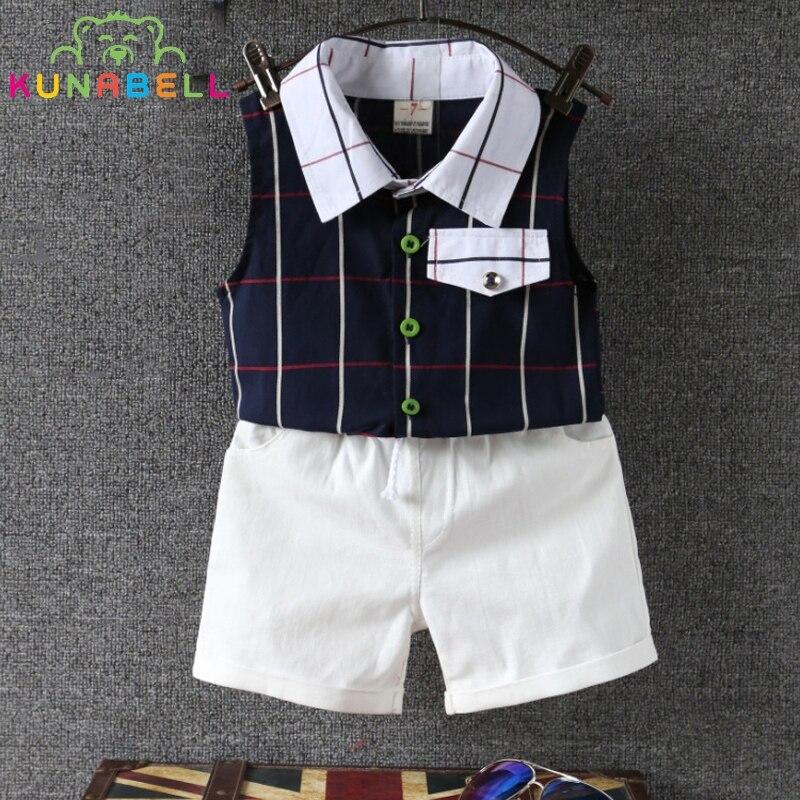 Baby Boys Clothes Summer Kids Fashion Plaid Vest Shorts 2pcs Cotton Outfits Sets Toddler Boy Suit Boys Clothes Kids Outfits B015