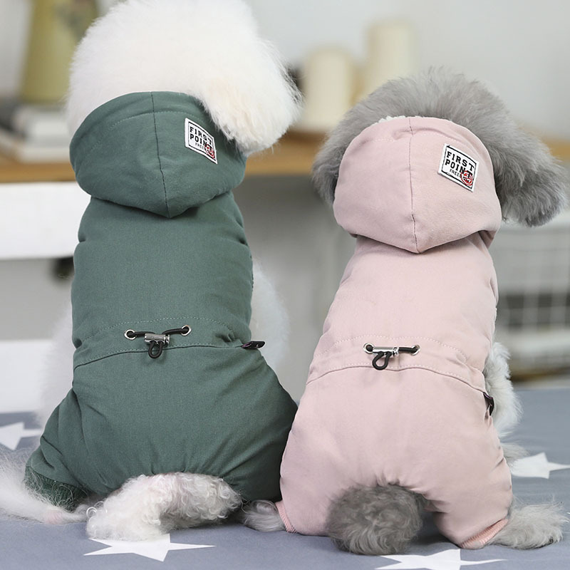 Smaller Than Usual ! Winter Dog Clothing Four Feet Pet Couple Clothes Chiwawa Yorkie Bomei Rompers Jumpsuits