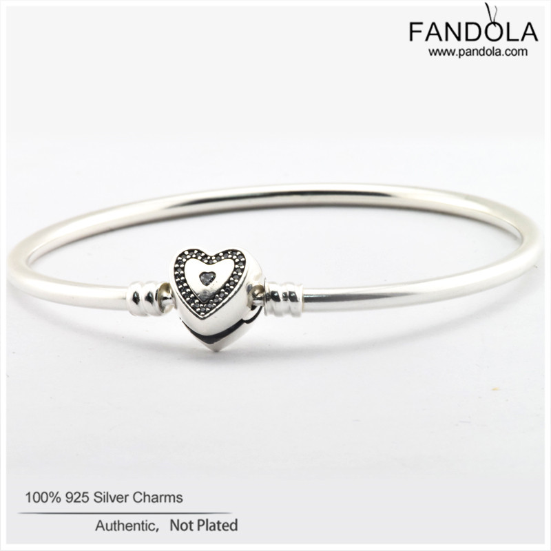 Wishful Heart Clasp Bangles Argent 925 Sterling Silver Clear CZ Bracelets for Women Original Jewelry pulseras mujerWishful Heart Clasp Bangles Argent 925 Sterling Silver Clear CZ Bracelets for Women Original Jewelry pulseras mujer