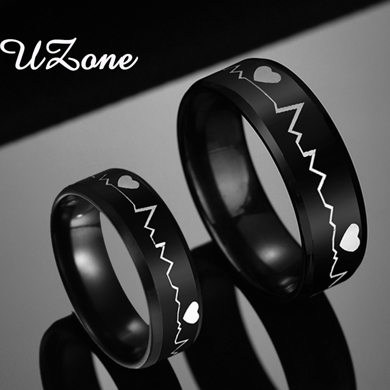 UZone Stainless Steel 8 mm Black Electrocardiogram Heartbeat Rings For Men Punk Jewelry Ring Party Gift(China)