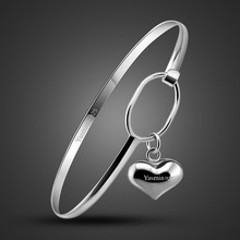 The new silver process bracelet for women,cute Heart-shaped pendant design,silver lady Popular foil jewelry