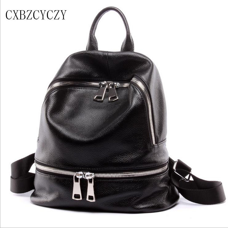 100% Cow Genuine Leather High Quality Women Famous Designer Brand Zipper Backpack Leisure Fashion Teenagers Bag Mochila Rucksack
