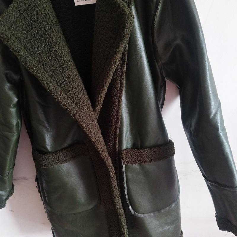 Femmes Longue Manteaux Agneau New Slim Base Vestes Cheveux As721 Revers De D'hiver Afficher Cuir Mince 2 1 En Chaud Mode RrqfwER