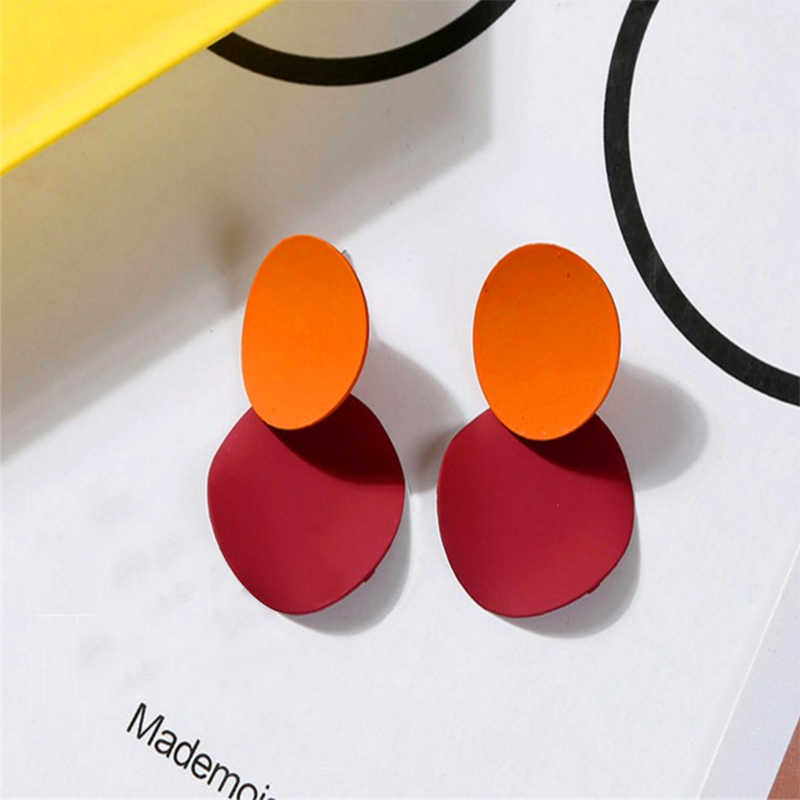 Fashion Korean Earrings For Women Jewelry Trendy Round Metal Statement Earrings Simple Vintage Drop Dangle Earrings
