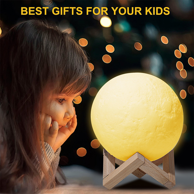 USB Rechargeable 3D Print Moon Lamp 2 Color Touch Bedroom table Night Light Decor blub Creative Gift Luminaria chargeable blub 3
