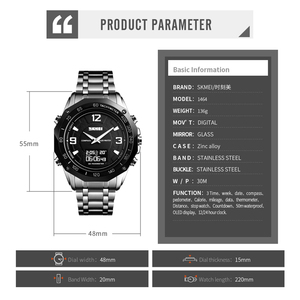 Image 2 - Luxury Watch Men Thermometer Compass Digital Clock Calorie Pedometer Sport Mans Wristwatch Fashion Military Mens Watches SKMEI