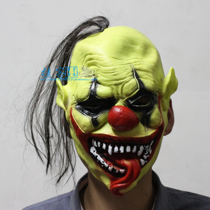 halloween mask party green clown mask creepy latex realistic crazy rubber super creepy party halloween costume - Premium Halloween Masks