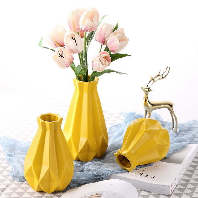 Europe Ceramic vase yellow geometry Origami Porcelain vases Arts and CraftsDry flowers vase wedding home decoration accessories