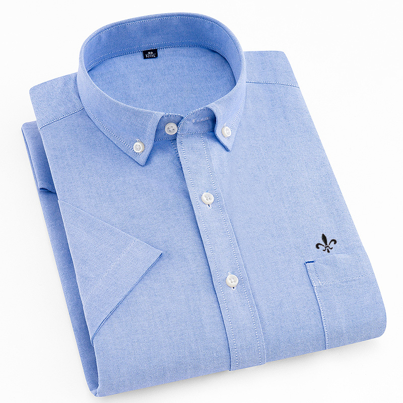 Image 5 - DUDALINA Men's Short Sleeve Shirt NEW Oxford solid color Shirt Homens Casual Fashion Turn Down Collar Camiseta Pluss Size M 5XL-in Casual Shirts from Men's Clothing