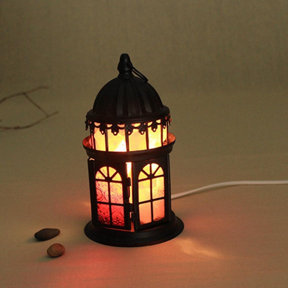 AKDSteel Crystal Salt Lamp Iron Table Lamps Originality Decorative Light Cozy Bedlight (US Plug)