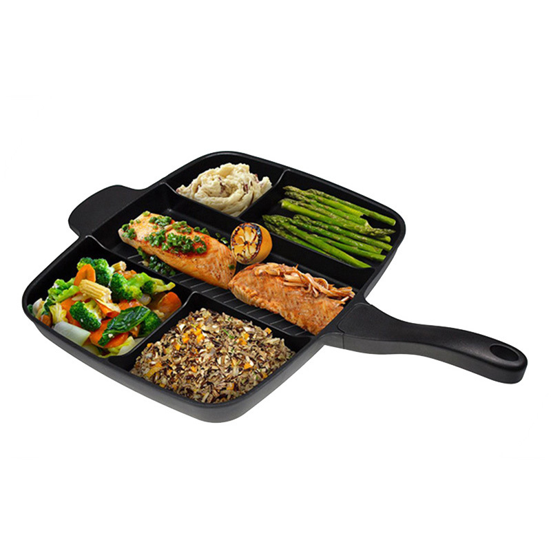New 5 in 1 Multifunction Breakfast Fryer Pan Flat Non stick Divided Frying Grill Pan Eggs Steak Pots and Pans for Cooker