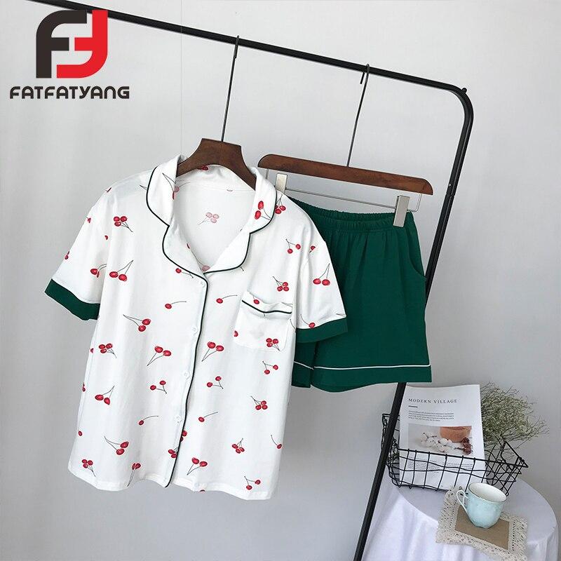 Plus Size Womens Pajamas Set Comfortable Cotton Women Cherry Sleepwear Lady Fruit Pattern Nightdress Female Home Clothes New
