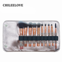 CHILEELOVE 10 Pcs/Set Diamond Makeup Brushes Kit with Cosmetic Collection Bag For Girl Women Make Up Tool Travelling Daily