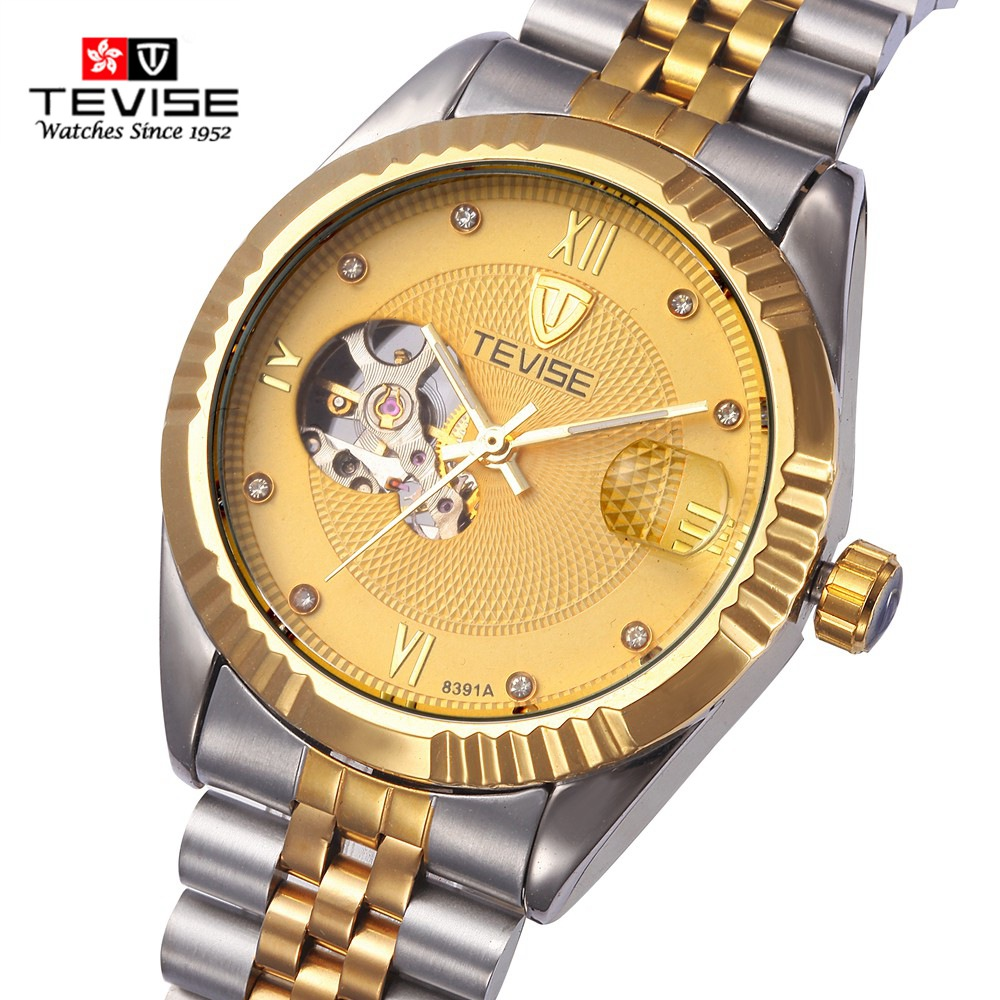 Tevise Trend Men Mechanical Watch Luxury Brand Watch Stainless Steel Band Sport Wristwatches Automatic Watches Male Clock 8391A fashion men mechanical hand wind watches men skeleton stainless steel wristwatches for male luxury golden watch men