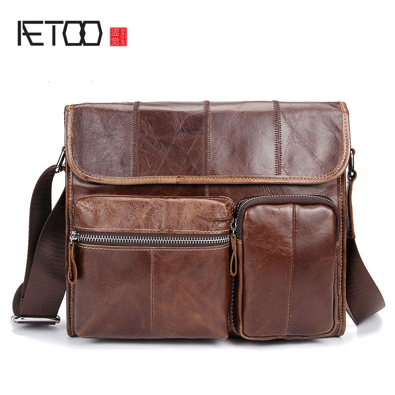 AETOO Leather men's bag retro first layer oil wax leather men's shoulder bag casual leather Messenger bag mail bag aetoo new real leather men bag oil wax cowhide retro men shoulder messenger bag head layer leather casual shoulder bag