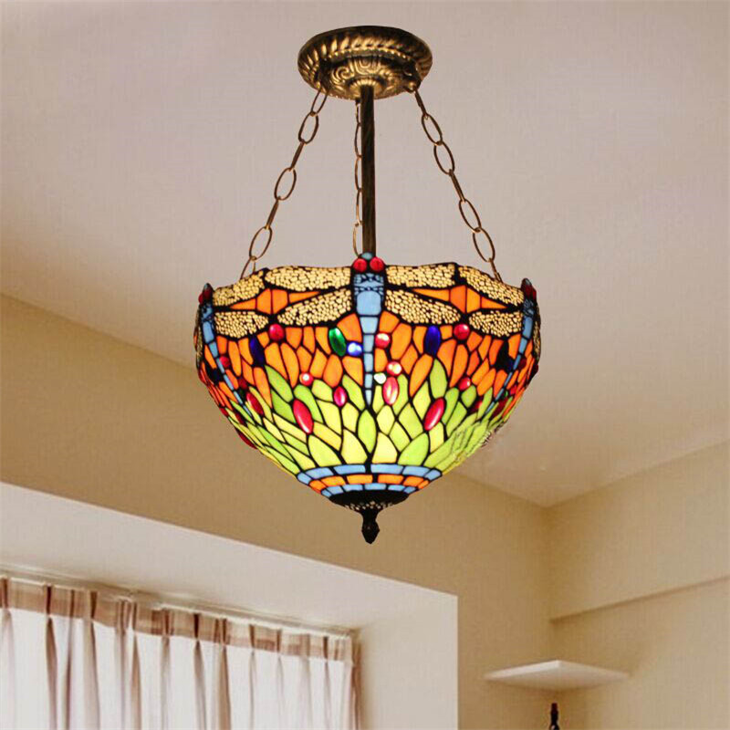 tiffany glass chandelier bedroom lamp european style den red dragonfly decorative lights. Black Bedroom Furniture Sets. Home Design Ideas