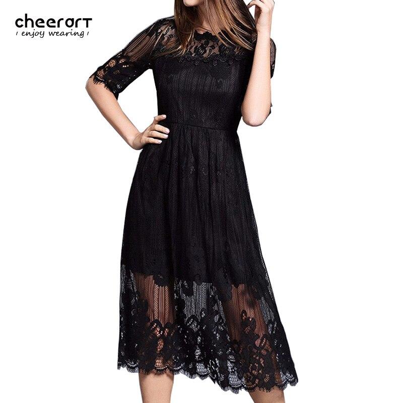Sale Women Long White Lace Autumn Dress Cut Out Black