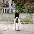 Lo nuevo de Otoño Invierno de Las Mujeres Falda Larga Una Línea de Longitud del Piso Maxi Falda para Office Lady Formal Por Encargo de Tul Moda falda