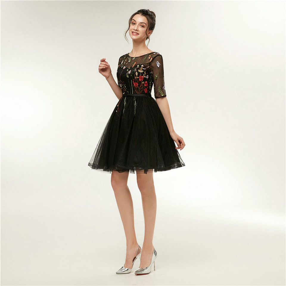 Ivory Black Scoop Tulle Appliques Lace Up Prom Evening Dress 3