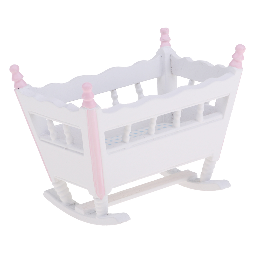Provided Mini Modern Special Design Dollhouse Bedroom Furniture Wooden Cradle Rocking Bed For 1/12 Dollhouse Baby Room Bedroom Decor Toys & Hobbies Furniture Toys