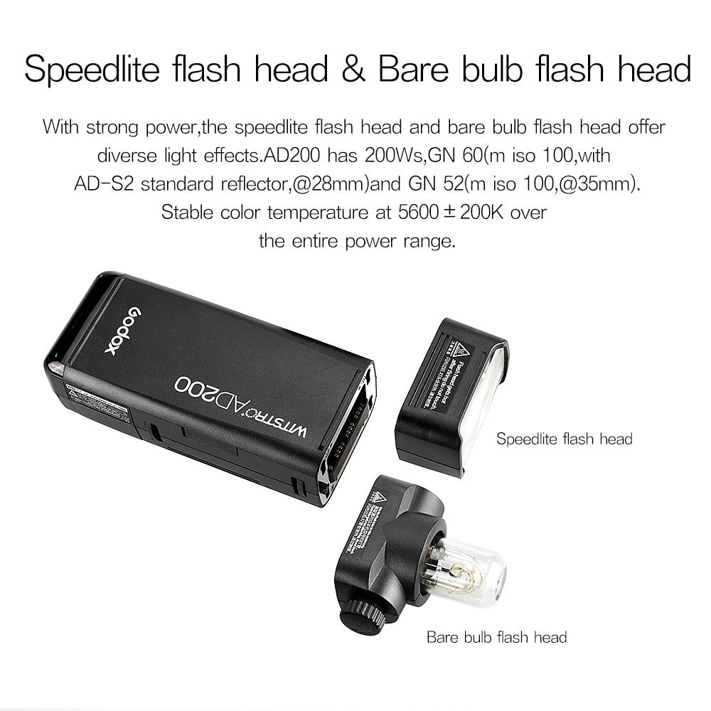 Godox AD200 200Ws 2.4G TTL välklambi 1/8000 HSS Monolight 2900mAh - Kaamera ja foto - Foto 3