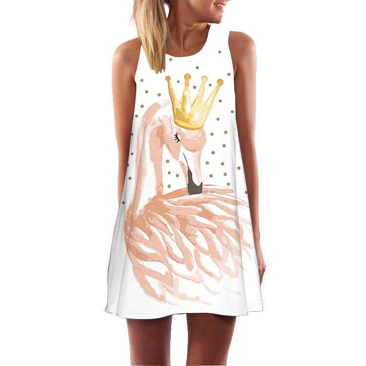 Floral 3D Gedruckt Flamingo Kleid Frauen Feder Elegante Anmutigen Strand Kleid Vestidos De Fiesta Robe Femme Weibliche Sommer Kleid