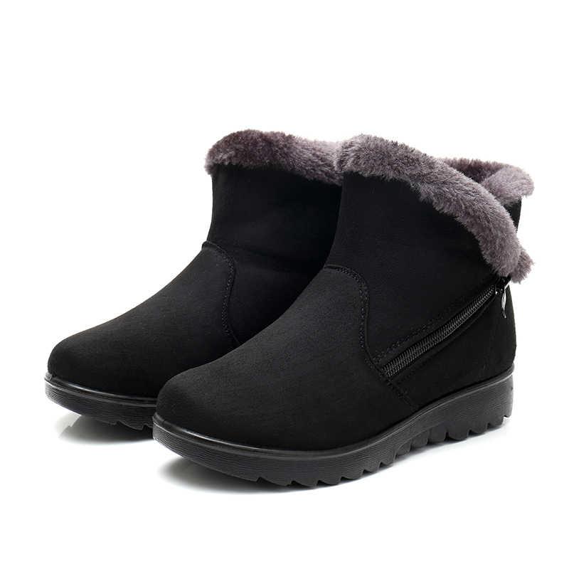 Mùa đông Giày Nữ Mắt Cá Chân Giày cho nữ Thời Trang Mới Nêm Nền Tảng Mùa Đông Ấm Ủng Giày Cho Nữ Đen Plus kích thước
